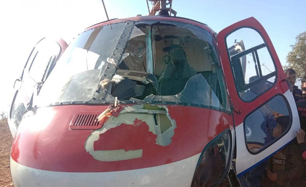 कैलाश एयरको हेलिकोप्टरमा चील ठोक्कियो, नुवाकोटमा आकस्मिक अवतरण